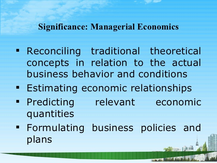 significance of managerial economics in decision making