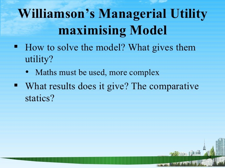 the managerial utility maximisation model Models of the almost ideal demand and inverse systems as well as some  additional hypothesis tests and inferences regarding model performance are  estimated.