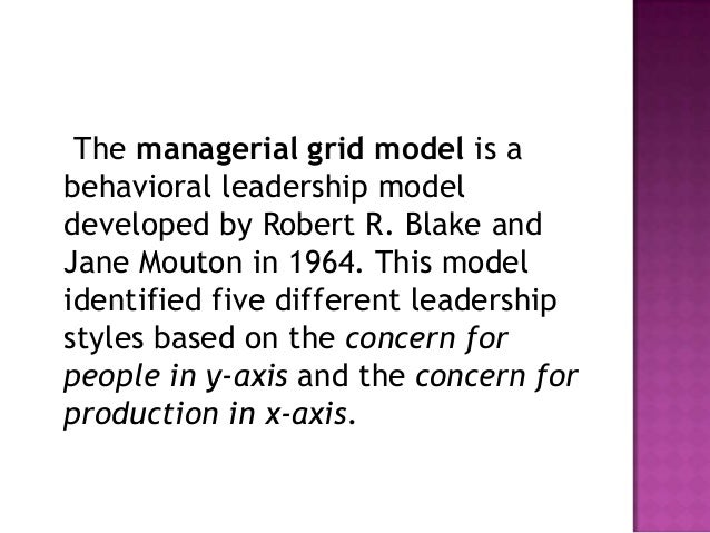 the managerial grid model 2017-1-6  the blake-mouton managerial grid is a system that can be used to group like leaders into categories based on the methods that they use.
