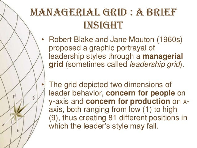 managerial grid Developed by r r blake and j s mouton, the managerial grid model helps managers to analyze their own leadership styles through a technique known as grid training also, managers can identify how they with respect to their concern for production and people with managerial grid model the two dimensions of.