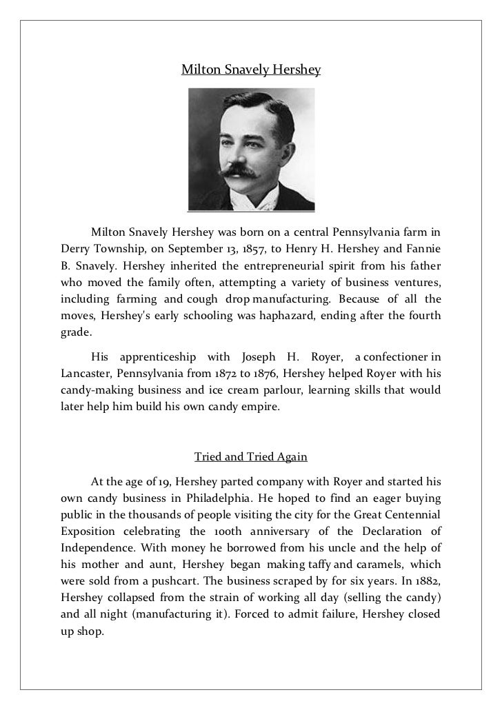 Milton Snavely Hershey      Milton Snavely Hershey was born on a central Pennsylvania farm inDerry Township, on September ...