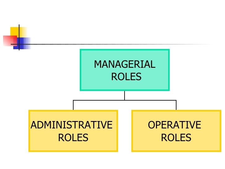 MANAGERIAL ROLES ADMINISTRATIVE  ROLES OPERATIVE  ROLES