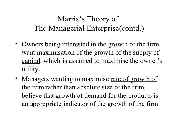 Marris' Model of Managerial Enterprise, Managerial Economics Assignment Help