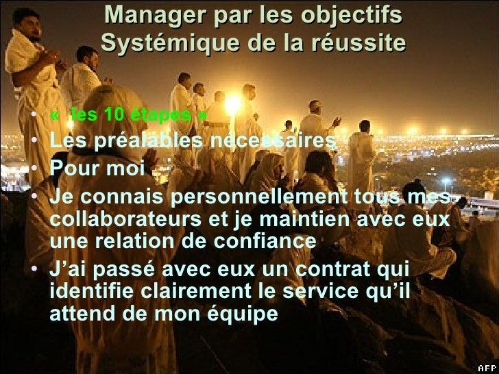 Manager par les objectifs Systémique de la réussite <ul><li>«  les 10 étapes » </li></ul><ul><li>Les préalables nécessaire...