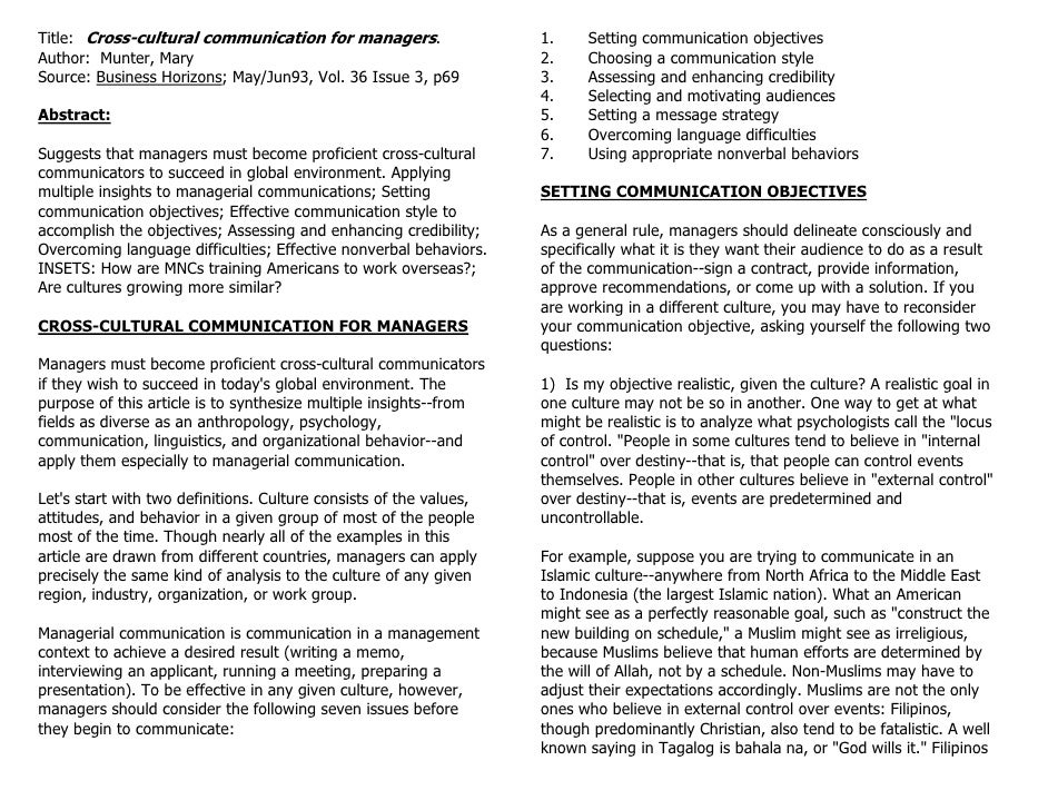Title: Cross-cultural communication for managers.                   1.     Setting communication objectives Author: Munter...