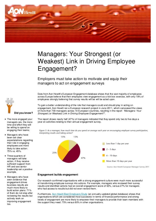 Managers: Your Strongest (or                              Weakest) Link in Driving Employee                              E...