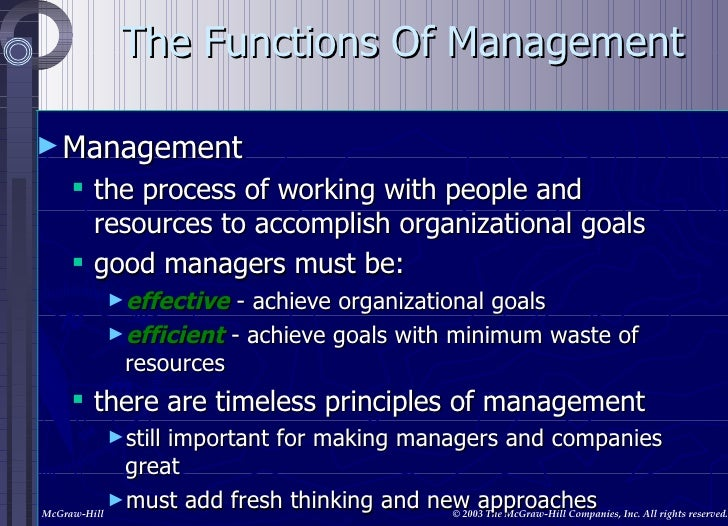 The Functions Of Management <ul><li>Management </li></ul><ul><ul><li>the process of working with people and resources to a...