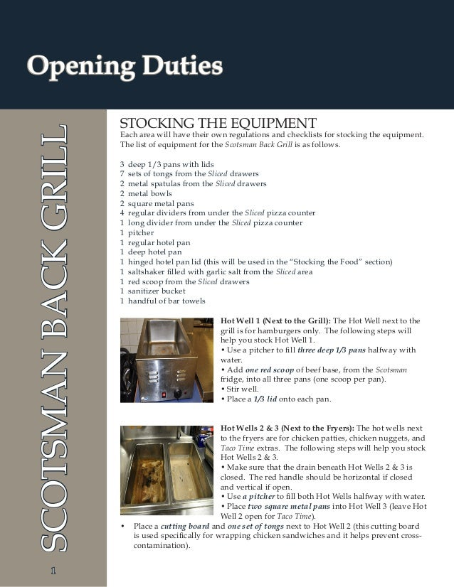 1 Opening DutiesSCOTSMANBACKGRILL; 6.