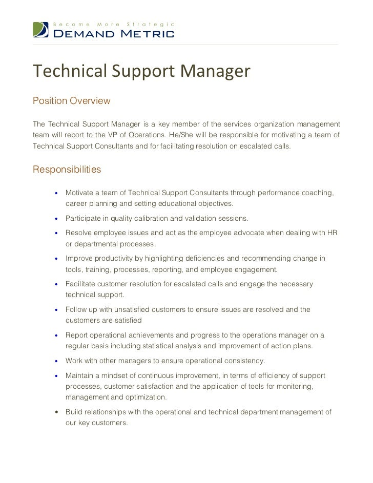 manager technical support description