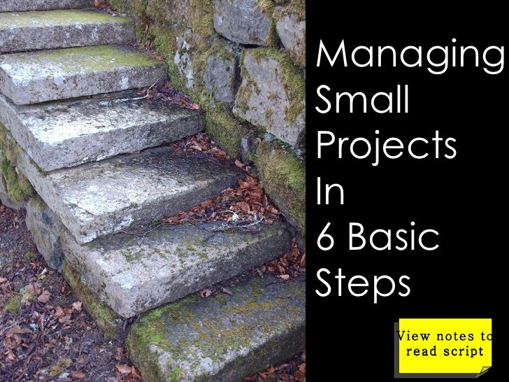 Managing Small Projects In  6 Basic Steps View notes to read script