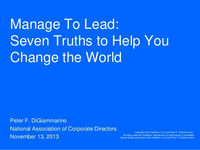 Manage To Lead Seven Truths To Help You Change The World