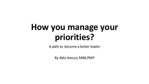 How you manage your priorities? A path to become a better leader By Aldo Arecco, MBA,PMP