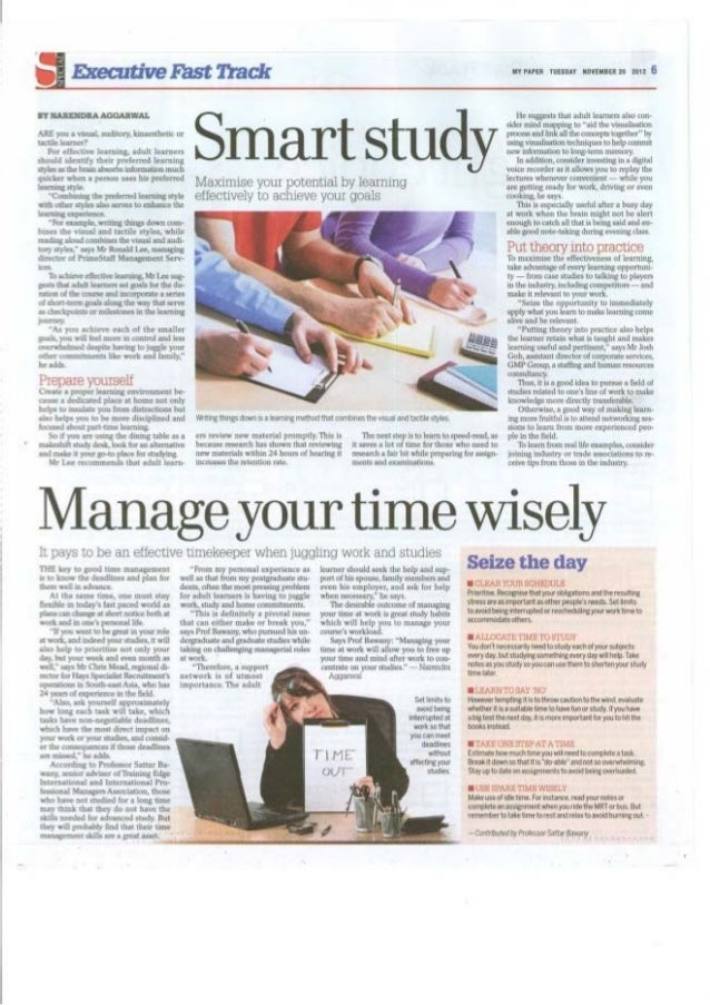 Manage your time wisely