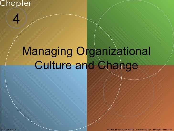 Chapter        4              Managing Organizational               Culture and ChangeMcGraw-Hill                  © 2004 ...
