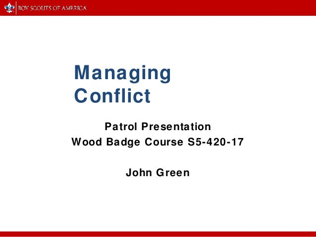 wood badge managing conflict