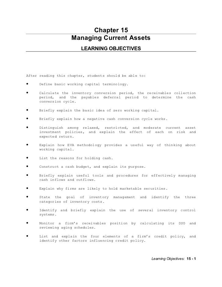 Chapter 15                      Managing Current Assets                          LEARNING OBJECTIVESAfter reading this cha...