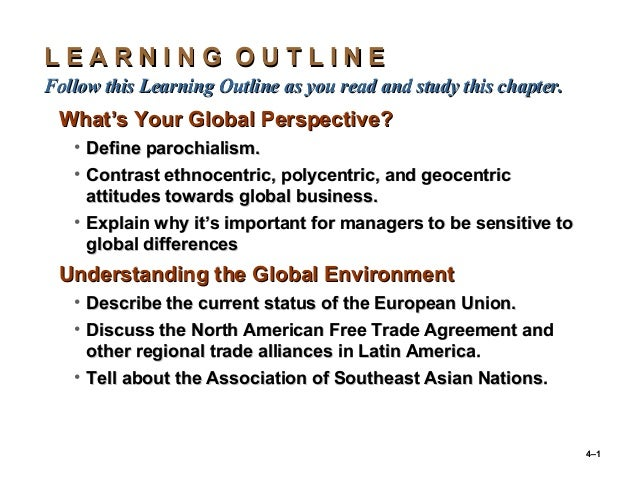 4–1 L E A R N I N G O U T L I N EL E A R N I N G O U T L I N E Follow this Learning Outline as you read and study this cha...