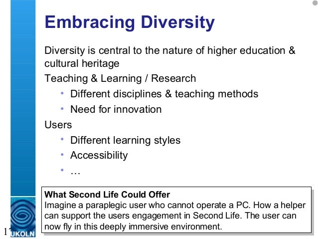 A centre of expertise in digital information management 17 Embracing Diversity Diversity is central to the nature of highe...