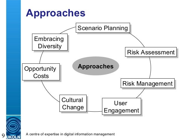A centre of expertise in digital information management 9 Approaches Approaches Opportunity Costs Opportunity Costs Scenar...