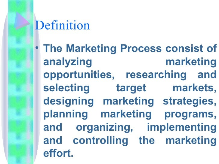 Definition  <ul><li>The Marketing Process consist of analyzing marketing opportunities, researching and selecting target m...