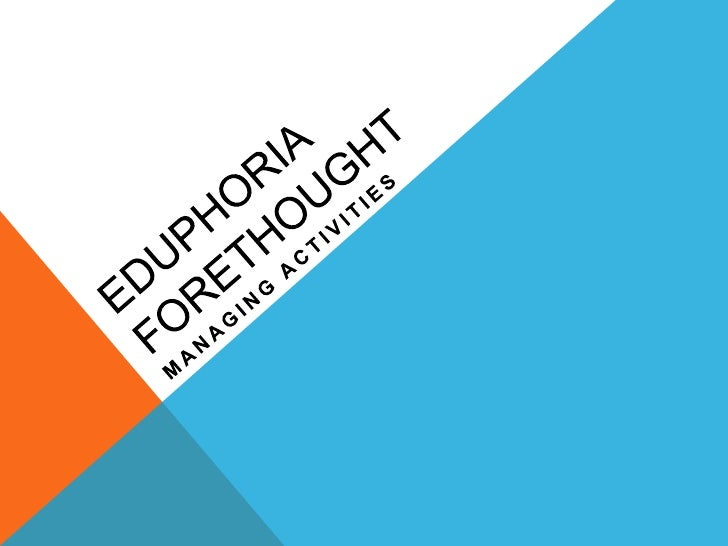 Eduphoria Forethought<br />Managing Activities<br />