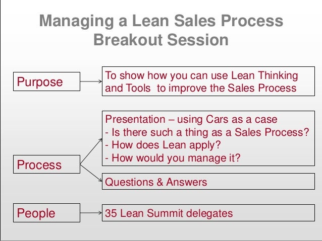 Managing a Lean Sales Process Breakout Session Purpose To show how you can use Lean Thinking and Tools to improve the Sale...