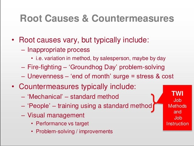 Root Causes & Countermeasures • Root causes vary, but typically include: – Inappropriate process • i.e. variation in metho...