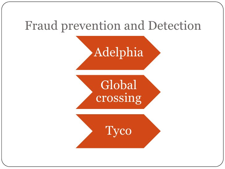 Fraud prevention and Detection           Adelphia             Global            crossing             Tyco