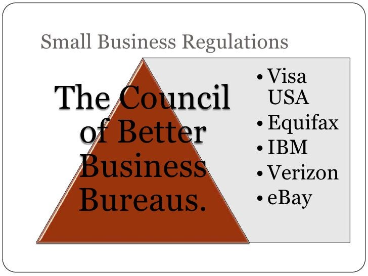 Small Business Regulations                      • Visa The Council            USA                      • Equifax  of Bette...