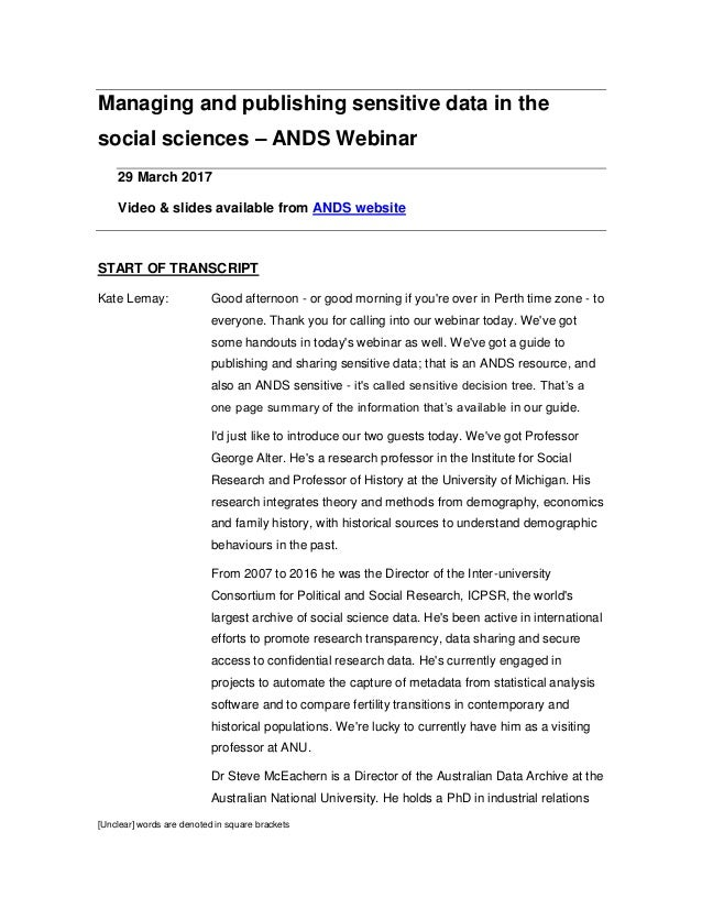 [Unclear] words are denoted in square brackets Managing and publishing sensitive data in the social sciences – ANDS Webina...
