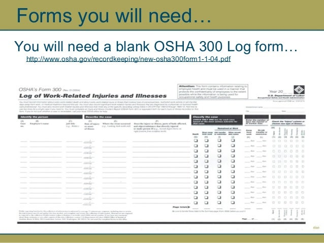 Osha  Log And Summary Report By Npca