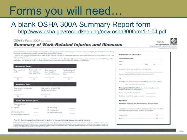 OSHA 300 Log and Summary Report by NPCA