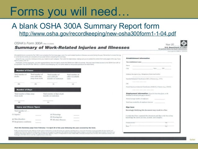 Osha 300 Log And Summary Report By Npca