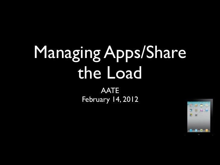 Managing Apps/Share     the Load          AATE     February 14, 2012