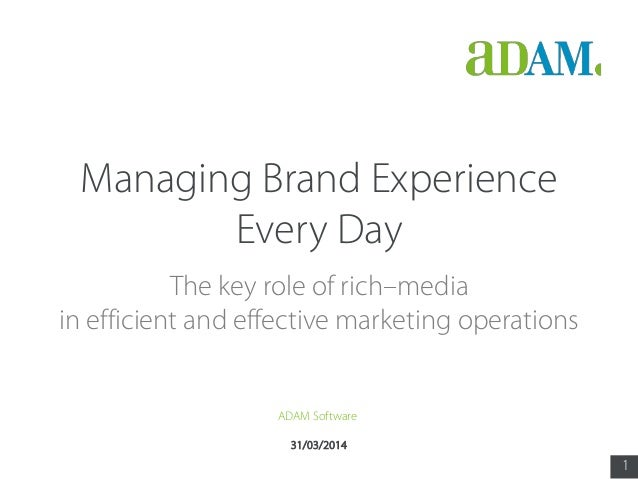 1 31/03/2014 Managing Brand Experience Every Day The key role of rich media in efficient and effective marketing operation...