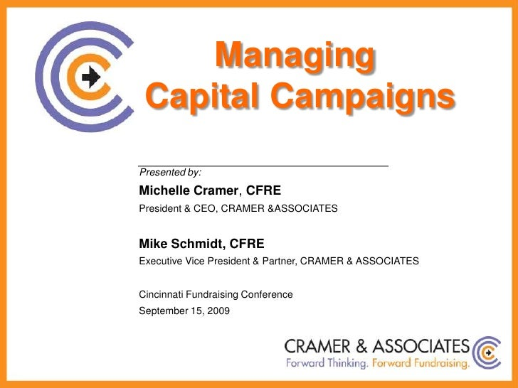 Managing <br />Capital Campaigns<br />Presented by:<br />Michelle Cramer, CFRE<br />President & CEO, CRAMER & ASSOCIATES<b...