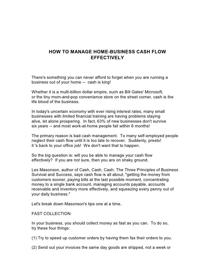 HOW TO MANAGE HOME-BUSINESS CASH FLOW                      EFFECTIVELYTheres something you can never afford to forget when...