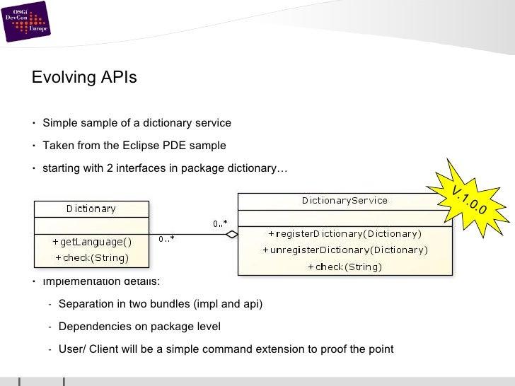 Evolving APIs <ul><li>Simple sample of a dictionary service </li></ul><ul><li>Taken from the Eclipse PDE sample </li></ul>...