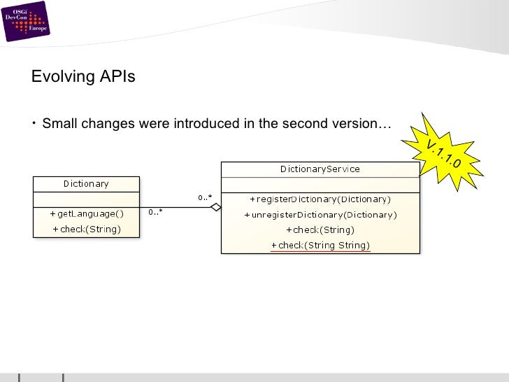 Evolving APIs <ul><li>Small changes were introduced in the second version… </li></ul>V.1.1.0