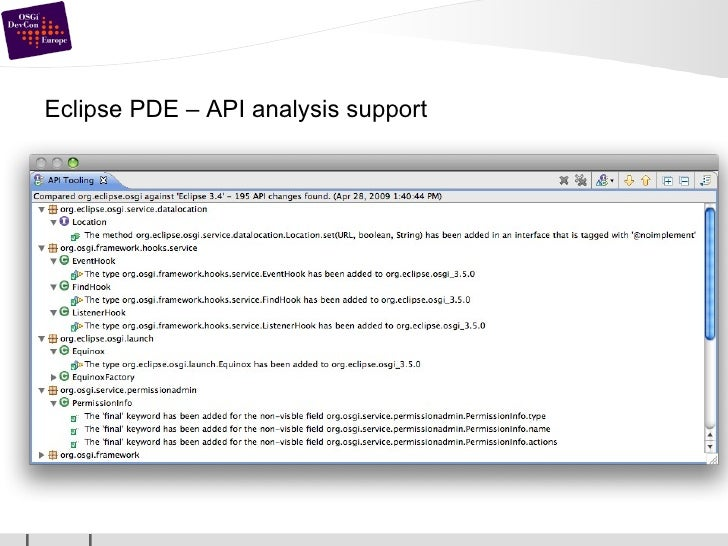 Eclipse PDE – API analysis support