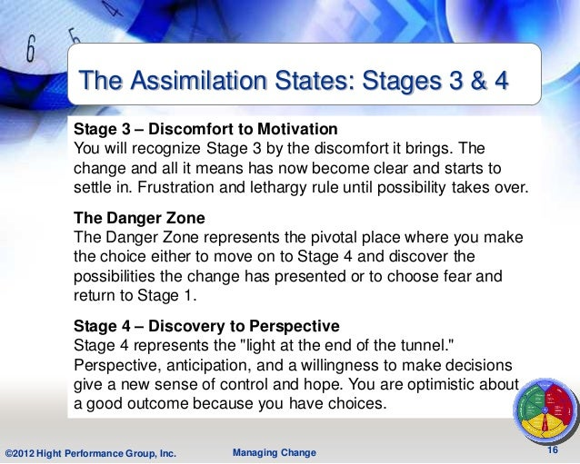The Assimilation States: Stages 3 & 4             Stage 3 – Discomfort to Motivation             You will recognize Stage ...