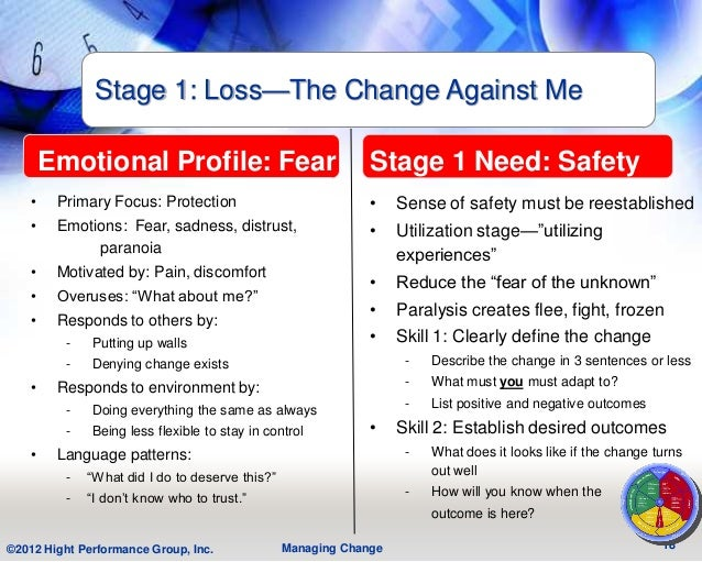 Stage 1: Loss—The Change Against Me       Emotional Profile: Fear                               Stage 1 Need: Safety   •  ...