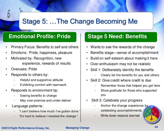 Stage 5: …The Change Becoming Me      Emotional Profile: Pride                                  Stage 5 Need: Benefits  • ...