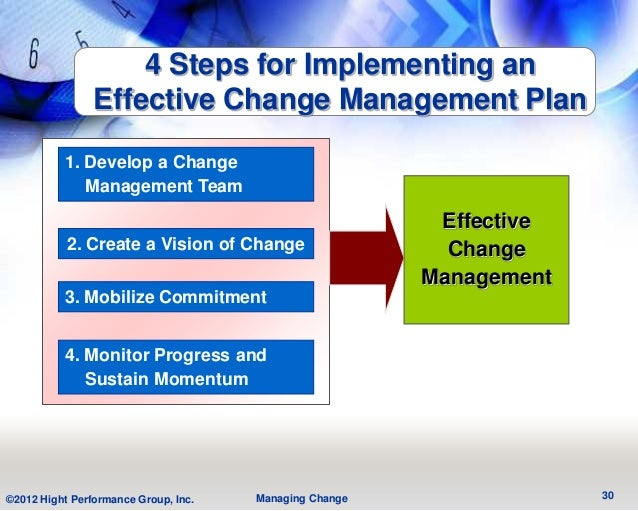 4 Steps for Implementing an                Effective Change Management Plan          1. Develop a Change             Manag...