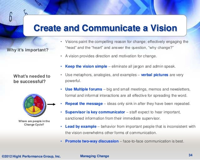 Create and Communicate a Vision                                   • Visions paint the compelling reason for change; effect...