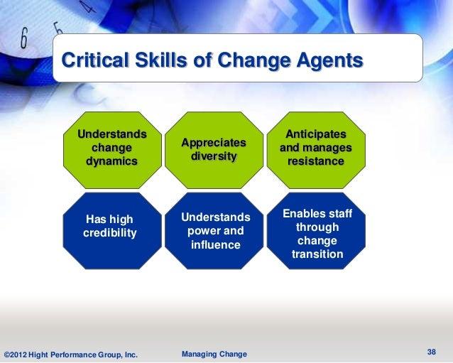 Critical Skills of Change Agents                   Understands                           Anticipates                     c...