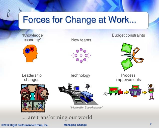 """Forces for Change at Work...               """"Knowledge                                              Budget constraints     ..."""
