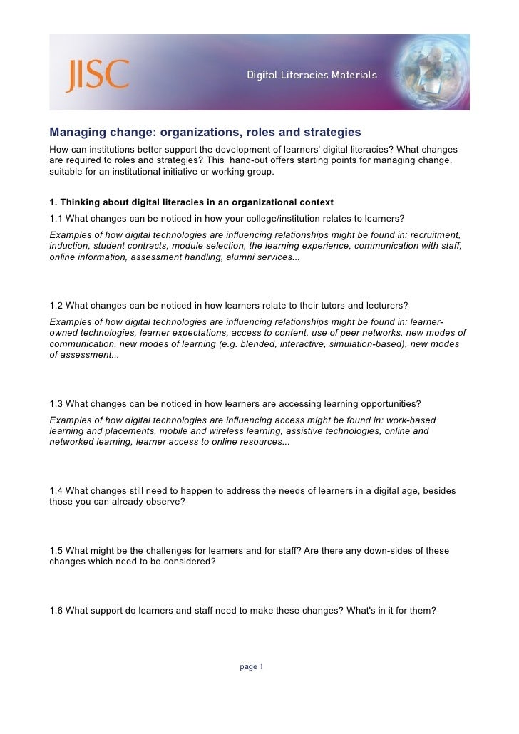 Managing change: organizations, roles and strategies How can institutions better support the development of learners' digi...