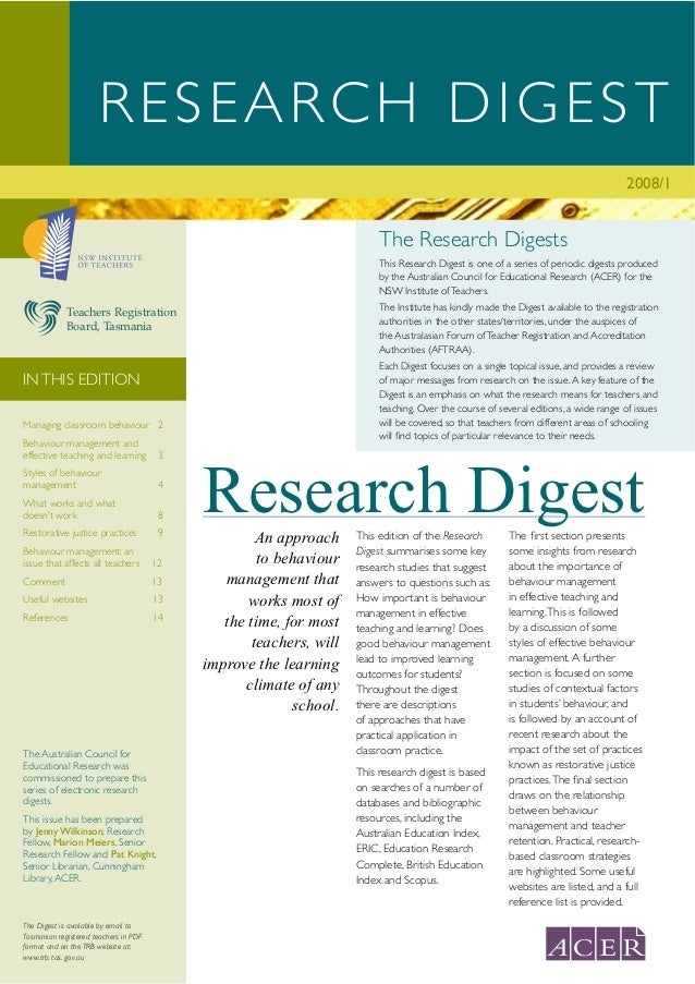 RESEARCH DIGEST                                                                                                           ...
