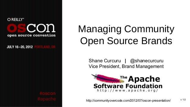 Managing Community          Open Source Brands            Shane Curcuru | @shanecurcuru            Vice President, Brand M...